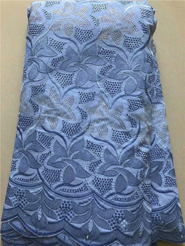 Elegant blue African cotton apparel lace fabric embroidery Swiss voile lace cloth FYC22(5yards/lot) many color