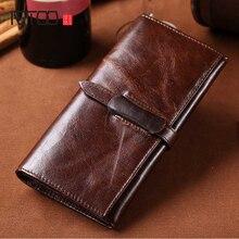 AETOO Oil wax leather mens wallet leisure retro long multi-card bit clip