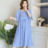 Summer Long Maternity Dresses Clothes Korean Causal Loose Embroidery Dress For Pregnant Pregnancy Wear Blue Vestido Clothing2019