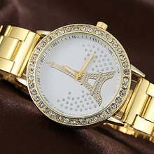 New arrival Women's Eiffel Tower Shiny Rhinestone Alloy Strap Analog Quartz Wrist Watch C2K5W