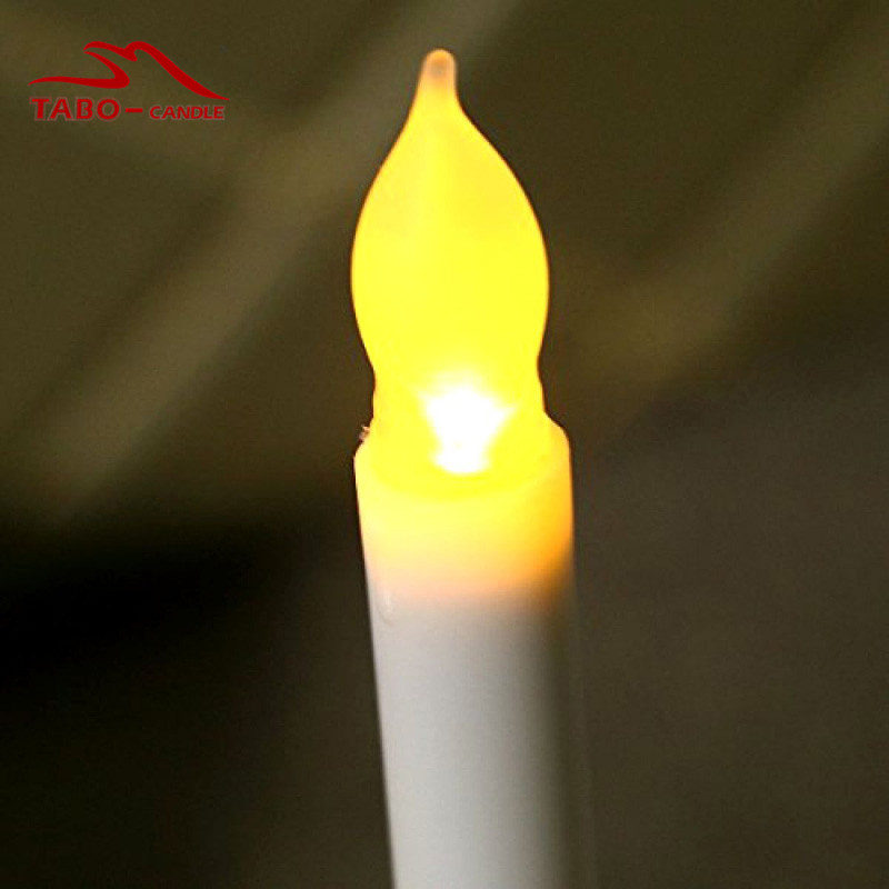 10pcs flameless flickering led taper mini dipped amber led taper candle battery operated yellow flickering