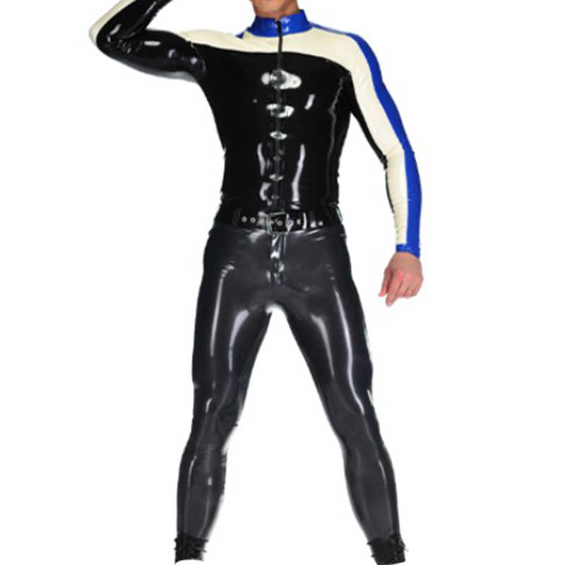 New Latex Gummi 100% Rubber Uniform Top Pants Sexy Racing Suit Black Navy Blue Cosplay Customized Size S-XXL
