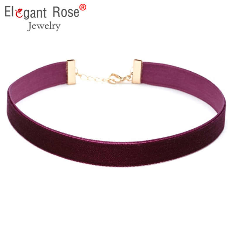 Classic Elegant Purple Red Velvet Choker Necklace Women Gothic Handmade Vintage Retro Necklaces for Girl Valentine's Gift NR3418