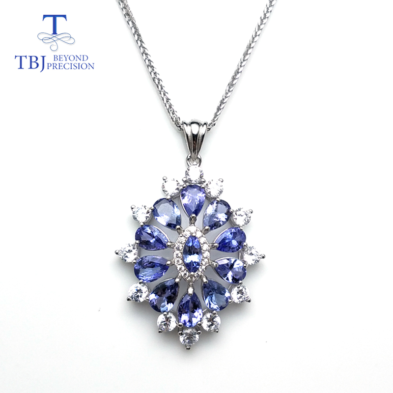 TBJ new 2018 flower pendant with natural tanzanite gemstone necklace in 925 sterling silver romantic jewelry