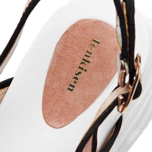 Lenkisen empfehlen peep toe kid suede schnalle riemen keile unten feste Koreanische designer streetwear frauen plattform sandalen L55-in Hohe Absätze aus Schuhe bei  Gruppe 2