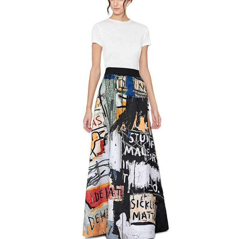 High fashion New Autumn 2017 Runway Suit Set Womens Vintage cat walk Style Graffiti printed black Tops Printed Sexy Skirt suit