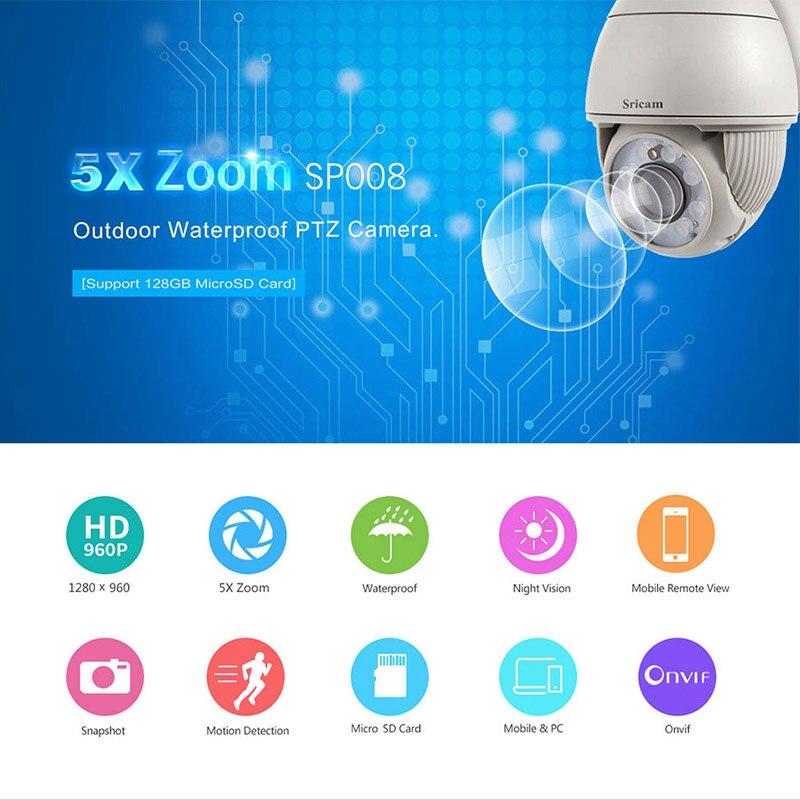 New Version! SRICAM SP008 HD 960P IP Camera H.264 WiFi ONVIF Surveillance Camera P2P Outdoor Security Cam IR-Cut Night Vision