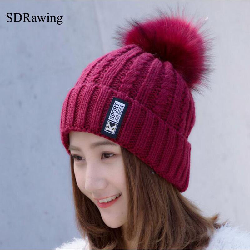 SDRawing real fox fur pom poms ball Keep warm winter hat for women girl 's wool hat knitted beanies cap thick female cap hx outdoors tactical karambit knife cs go camping survival hunting claw knives edc multi purpose tools d2 blade hunting knife
