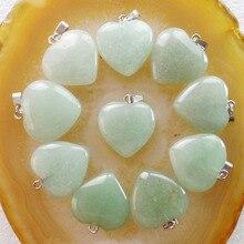 Frete grátis 20 peças 22x20x6mm bonito verde aventurine coração pingente grânulo (min. order 10 $ mix)