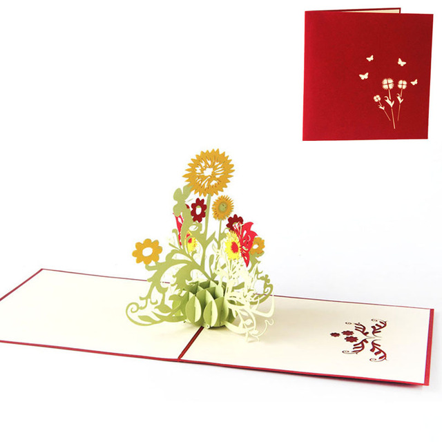 3d pop up greeting cards sunflower birthday mother day thanks 3d pop up greeting cards sunflower birthday mother day thanks christmas gift postcard new m4hsunfo