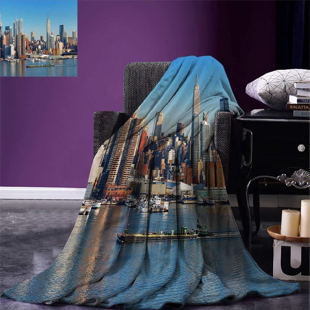 New York Throw Urban City Skyline Manhattan with Empire