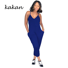 Kakan summer new womens tight jumpsuit fashion casual nine pants black gray blue white