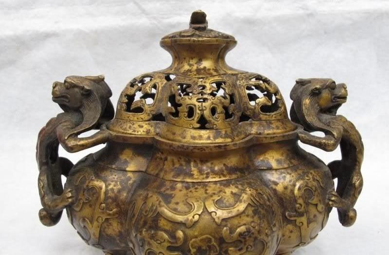 Tibet Folk Buddhism Classic Copper Dragon Beast Veins Ears Incense Burner Censer