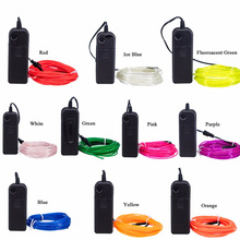 цена на 3V Flexible Neon Light Glow EL Wire Rope with Battery Case Tape Cable Strip Light Shoes Clothing Car waterproof  1m 2m 3m 4m 5m