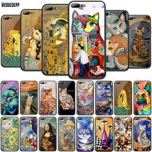 WEBBEDEPP Kiss by Gustav Klimt Cat dog Tempered Glass TPU Cover for Apple iPhone 6 6S 7 8 Plus 5 5S SE XR X XS 11 Pro MAX Case