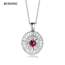 BUDONG Fashion Luxury Crystal White Silver Color Chain Necklace for Women Red/Blue/Green/ White Zirconia Wedding Jewelry XUP091