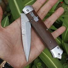 Free shipping sharp Damascus steel imports blacksmithing camping tool folding knife wood handle outdoor self defense knife