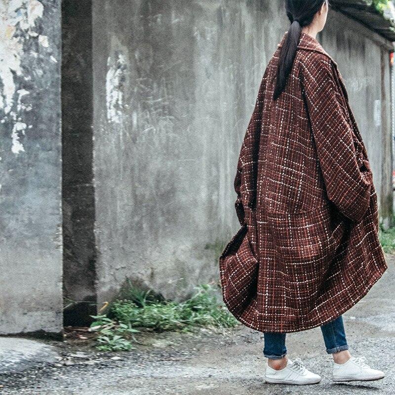 Johnature mujeres abrigo de lana Vintage 2019 invierno nuevo botón de cuello vuelto más el tamaño de las mujeres ropa a cuadros caliente largo abrigos manga-in Lana y mezclas from Ropa de mujer    3