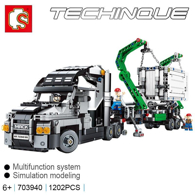 Sembo blocs Technic série Mack hymne camion legoing 42078 briques de construction modèle figurines éducatif bricolage jouet anniversaires cadeau