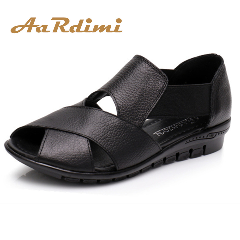 AARDIMI Summer Flat Sandals Women Casual Mother Shoes Black & Rad Slip On Female Summer Shoes Wedges Sandals For WomanAARDIMI Summer Flat Sandals Women Casual Mother Shoes Black & Rad Slip On Female Summer Shoes Wedges Sandals For Woman
