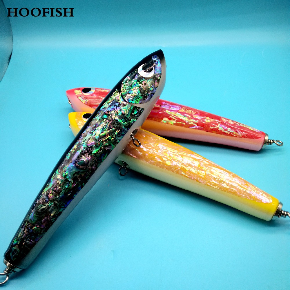HOOFISH 1pcs Deep Sea Pencil Boat Fishing Artificial Bait 120g/23cm Topwater Wooden Stickbait GT Surface Trolling Lure 85g wooden popper cantboard lure sea fishing wooden trolling boat artificial bait top water wood bird trolling fishing lure