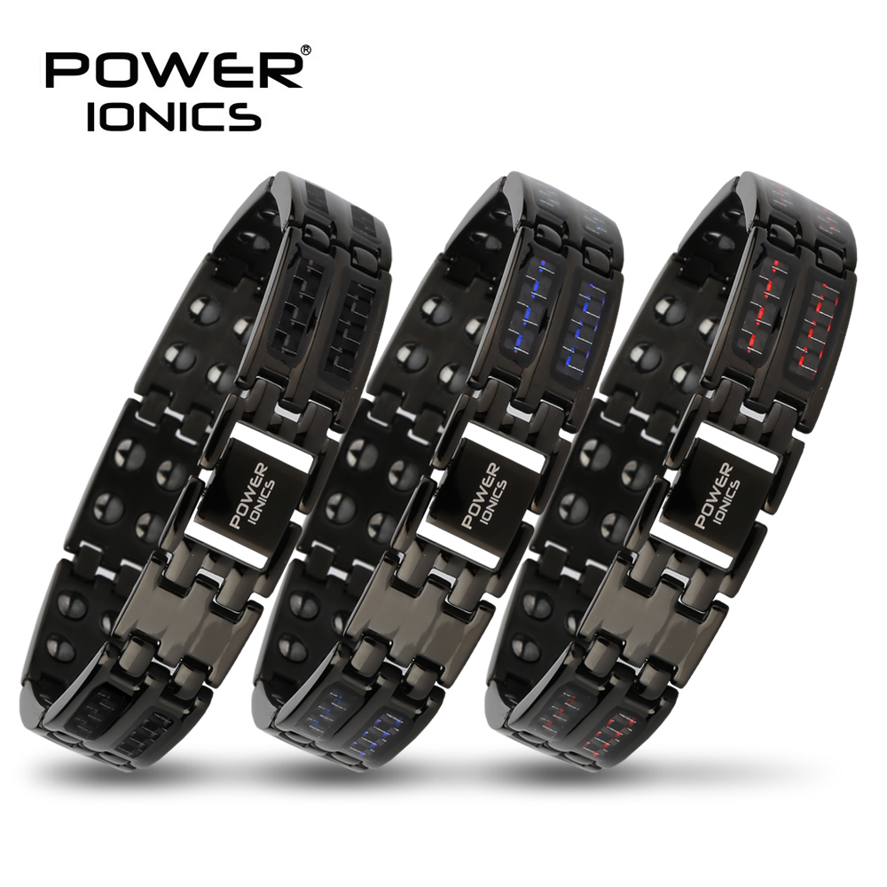 Power Ionics Mens black blue red carbon fiber 100 Pure Titanium Magnetic Therapy Bracelet Wristband improve