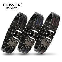 Power Ionics บุรุษสีดำ/สีฟ้า/สีแดงคาร์บอนไฟเบอร์ 100% Pure TITANIUM Magnetic Therapy สร้อยข้อมือสายรัดข้อมือปรับปรุงการไหลเวียนโลหิต