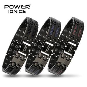 Image 1 - Power Ionics Mens black/blue/red carbon fiber 100% Pure Titanium Magnetic Therapy Bracelet Wristband improve blood circulation