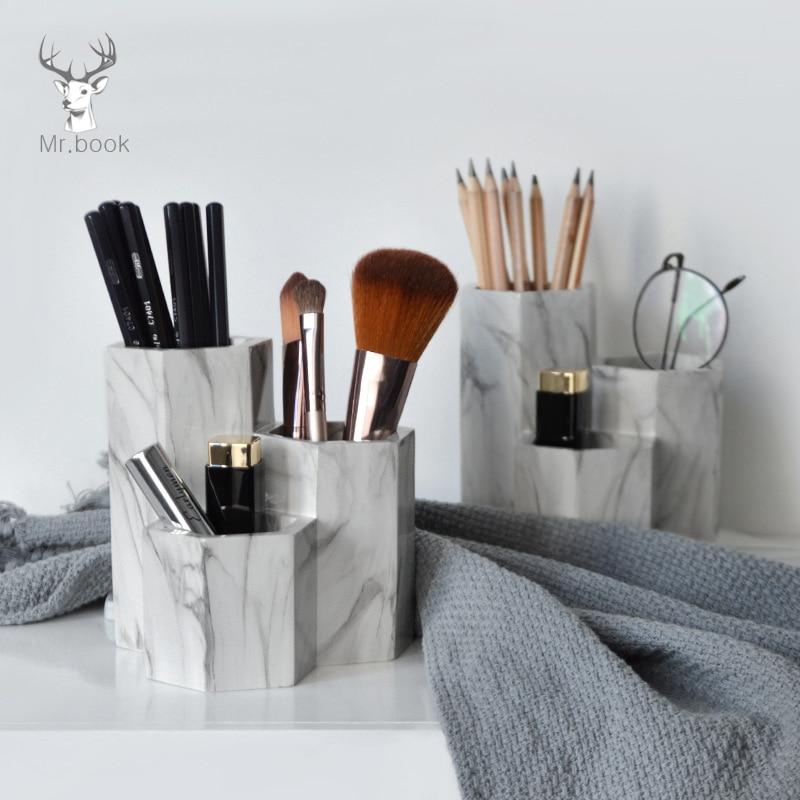 Creative Marble Pen Holder Home Office Desk Decor Business Gifts Makeup Brush Storage Holder Office Pen Holder Desk Organizer