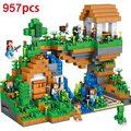 Nova 2017 de Alta Qualidade Blocos de Construção QL0507-957 pcs Meu Mundo casa na árvore diy figuras tijolos define crianças brinquedos criativos presente verde