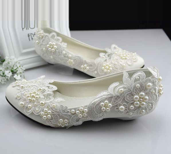 Plus sizes 40 41 42 ivory lace wedding shoes for woman small low heel comfotable pearls