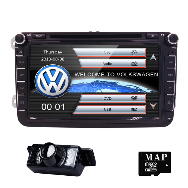 "8"" 2 din Car DVD for Volkswagen VW golf 4 golf 5 6 touran passat B6 sharan jetta caddy transporter t5 polo tiguan with gps card"