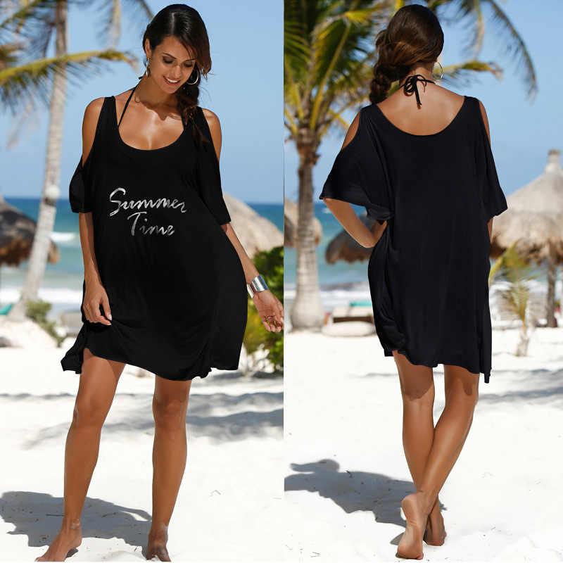 c2c7796f9710 Traje de baño cubierta para mujeres verano túnica playa Mat baño vestido  bata Ups Tunics nuevo elástico algodón letras Smock mujer sólido