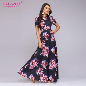 Image 4 - S.FLAVOR Women Long Dress Short Sleeve Floral Print Boho Dress Elegant Party Dress Slim Maxi vestido de festa