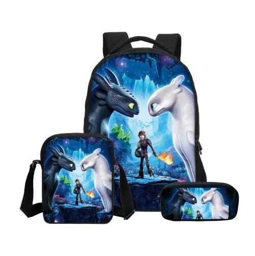 How to Train Your Dragon Anime Print Custom Set Backpack Large Boy Girl Mochilas Infant Satchel Children Schoolbag