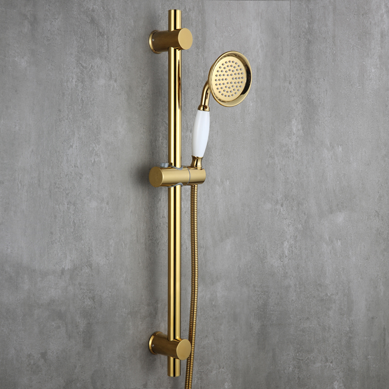 Luxury Gold plated strong round brass Handhand Shower Head set with Metal SUS304 Stainless Steel Adjustable Slide Bar A