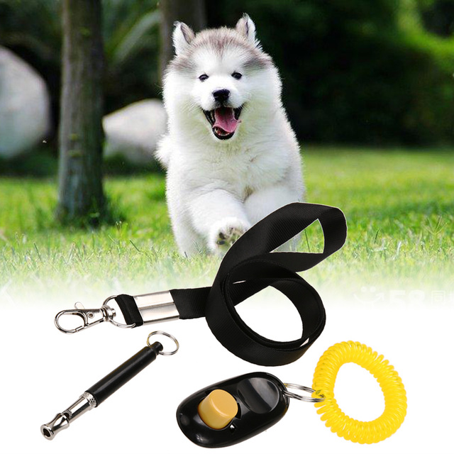 3 in 1 Ultrasonic Dog Whistle To Stop Barking+Pet Training Clicker+Free Lanyard Set Pet Dog Training Supplies