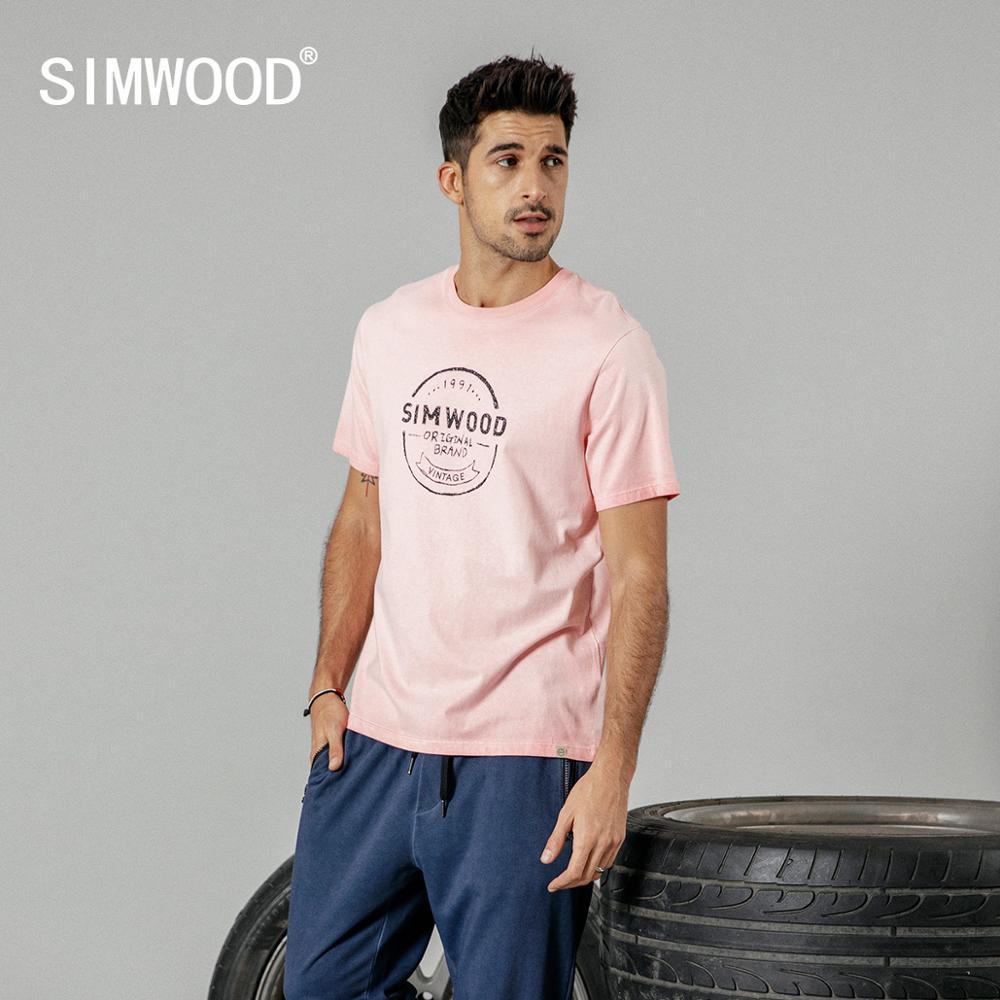SIMWOOD 2020 Summer New Vintage 100% Cotton T Shirt Men Plus Size Letter Print Tshirt Fashion Top High Quality T-shirt 190088