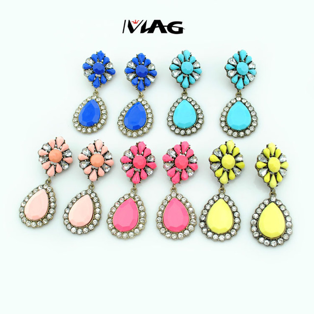2015 New Fashion Fluorescence Flower Dangle Chandelier earrings Stud With Crystal Rhinestone For Women shourouk Flower Earrings
