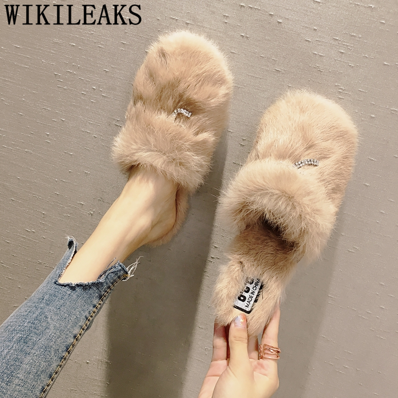 fashion ladies fur mules shoes woman zapatos mujer sapato feminino slip on loafers women flats designer luxury brand casual shoe все цены