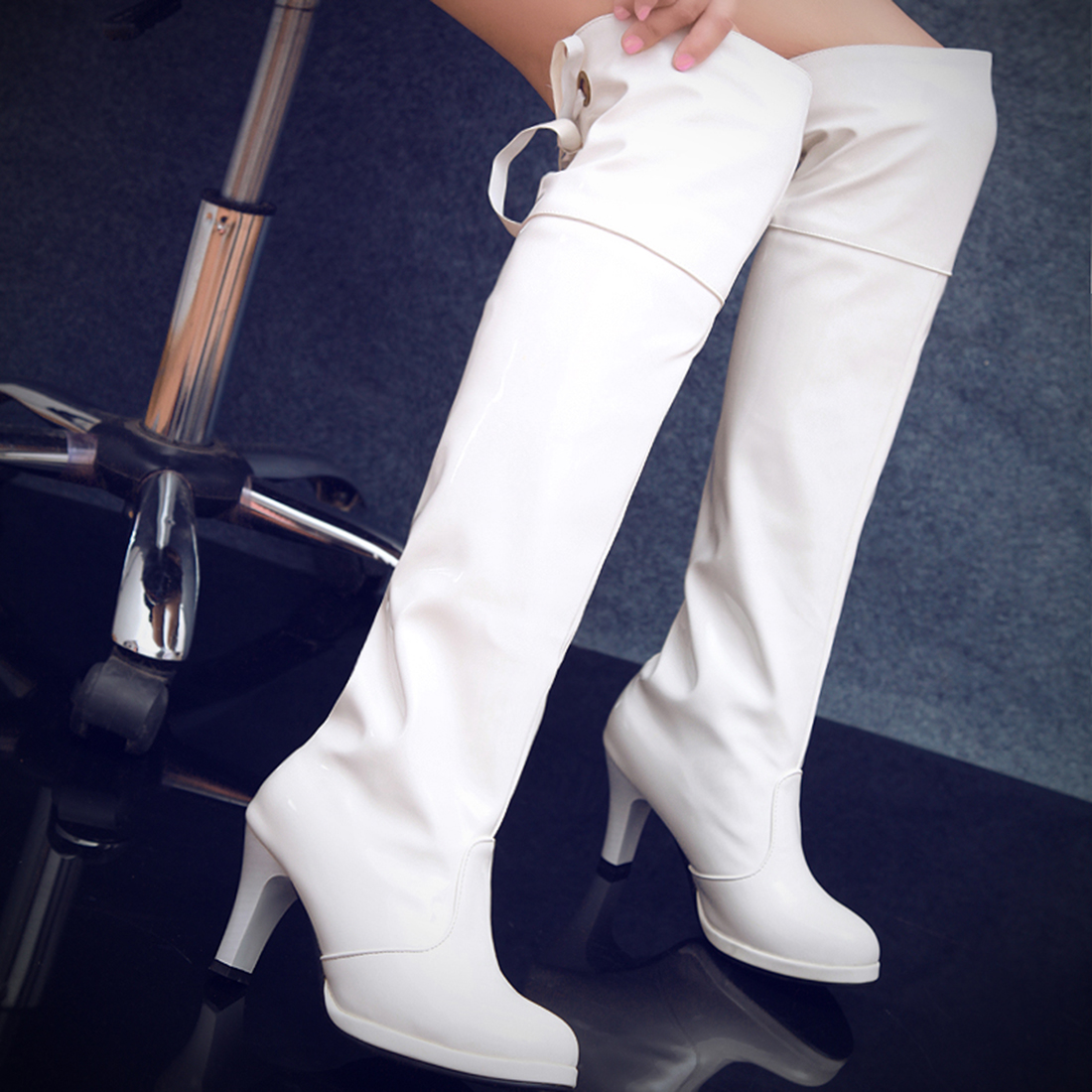 Clubwear High Heel Thigh Heel Over The Knee Boots Sexy Women Lady Martin Boots Patent Leather Gothic Shoes white red black витрина однодверная правая роза