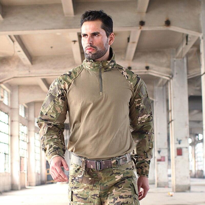 Trueguard 2016 Multicam TRU 1/4 Zip Combat shirt Multicam Arid 65/35 Poly Cotton Ripstop Combat Shirt MCA Frog suit top shirt