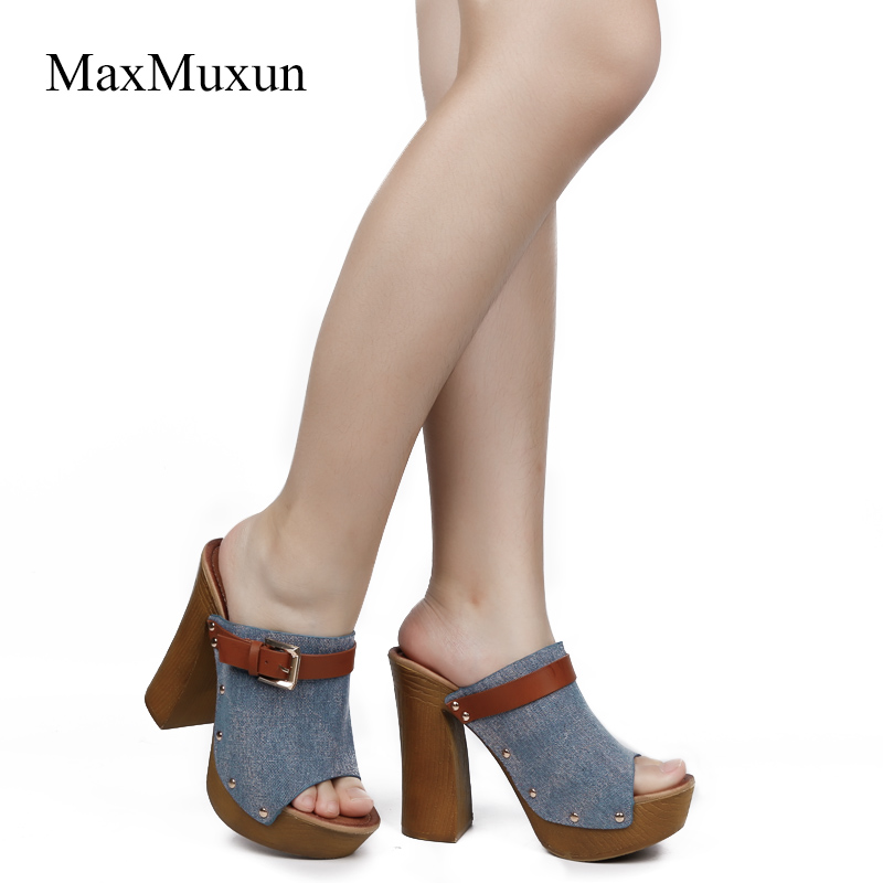 ... Buckle Ladies Heel High Peep Canvas Round Toe Platform Shoes Wooden  Thick Sandals Sexy MaxMuxun Sandal 4b419118fd46