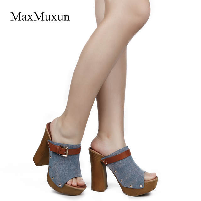 bf92ab8bd58e MaxMuxun Shoes Woman Canvas Wooden Chunky Heel Platform Slide Sandals Sexy  Ladies Round Peep Toe Buckle