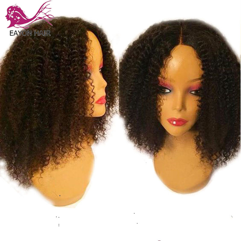 EAYON Indian Remy Hair Glueless Full Lace Human Hair Wigs For Women Curly Natural Black Color With Short Baby Hair Pre Plucked
