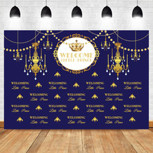 NeoBack Royal Boy Baby Shower Photography Backdrops Prince  Crown Chandelier Sapphire Blue Background