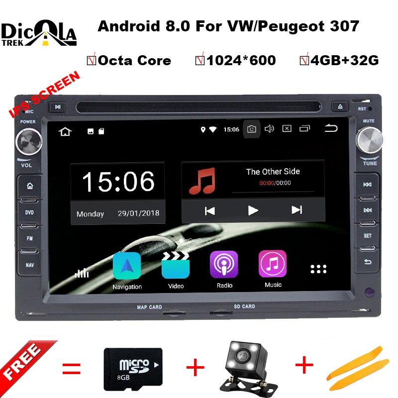 Octa Core Android 8.0 Dell'automobile DVD GPS Radio Per Il Vecchio VW Transporter T4/T5 Bora Passat Mk5 Golf Mk4 polo Jetta Peugeot 307 1998-2008