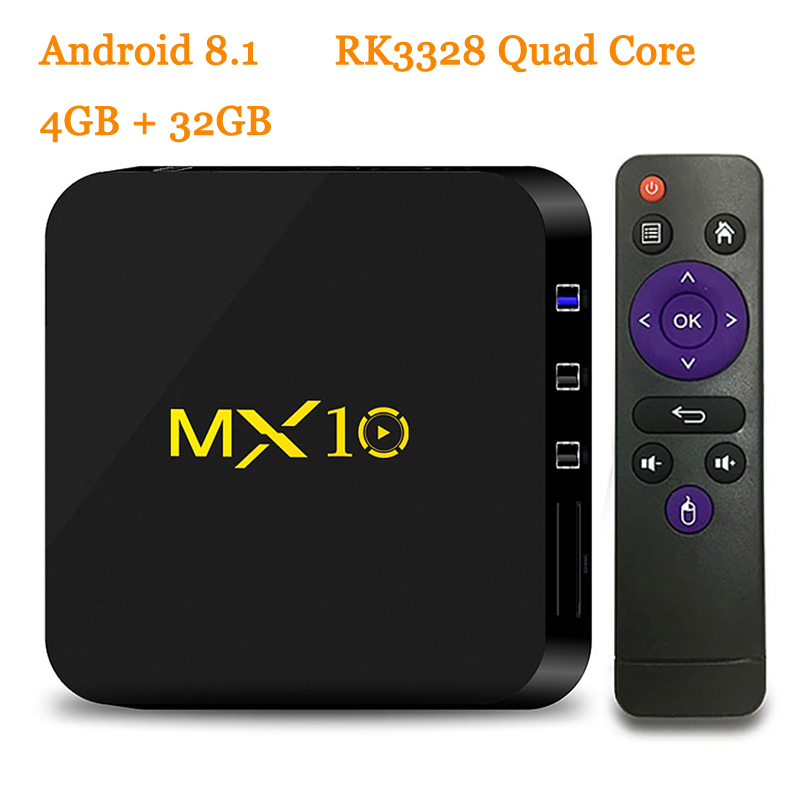 RUIJIE MX10 Android 8.1 TV BOX 4 gb 32 gb RK3328 Quad Core 64bit 4 k HDR 2.4 ghz WIFI USB 3.0 Smart Tv Media Player