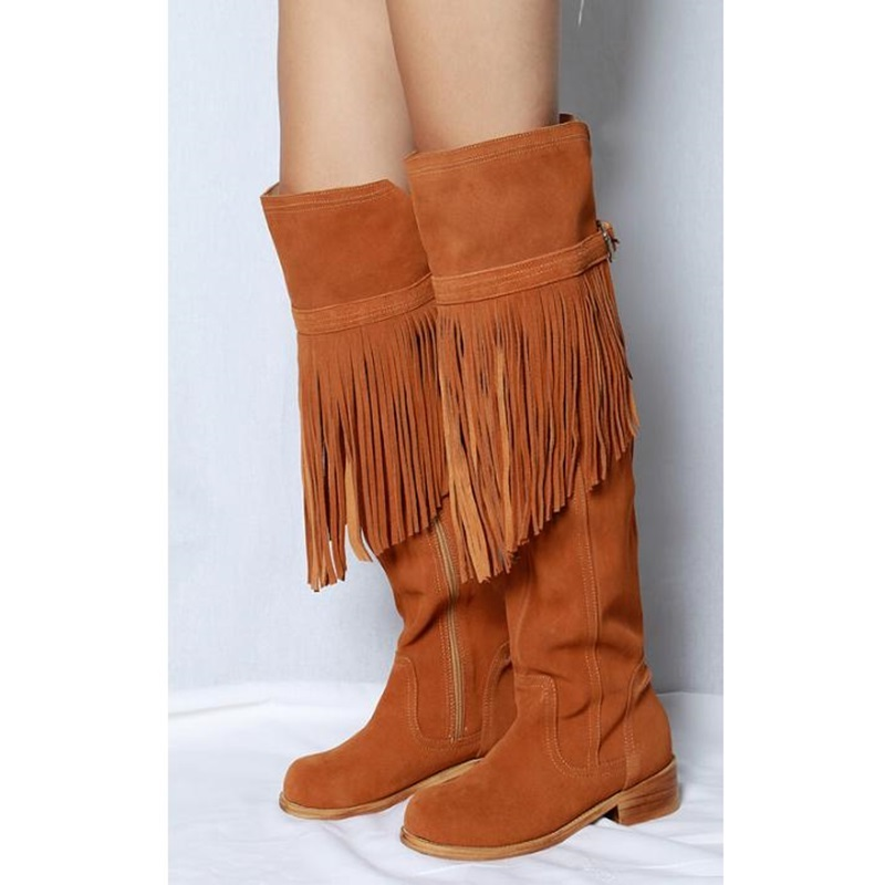 Faux Suede Leather Loose Knee High Woman Boots Low Heel Motorcycle Fringed Boots Spring Autumn Belt Buckle Decor Tassel BootsFaux Suede Leather Loose Knee High Woman Boots Low Heel Motorcycle Fringed Boots Spring Autumn Belt Buckle Decor Tassel Boots