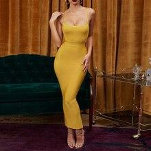 9ac30db9bc Seamyla Women Summer Bandage Dress 2019 Sexy Celebrity Party Dresses  Spaghetti Strap Bodycon Nihgtclub Long Maxi